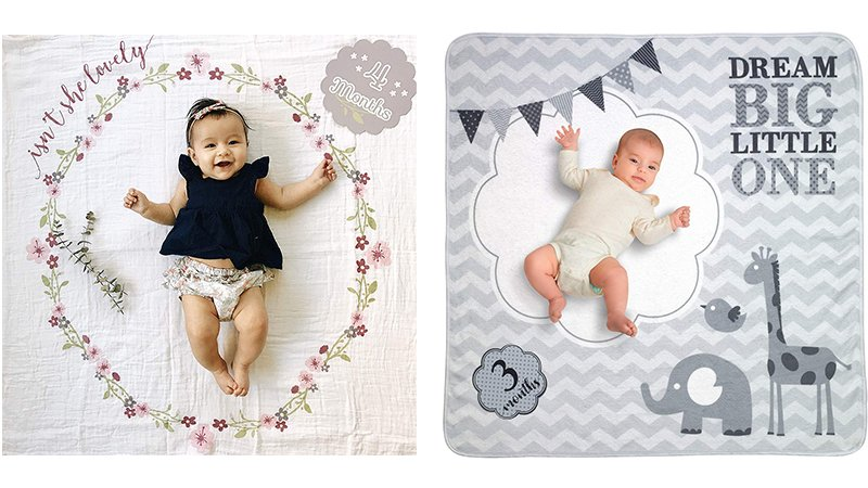 A selection of baby milestone blankets - floral and animals designs