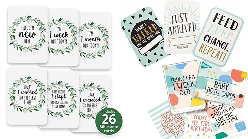 Range of bright, colourful, gender neutral baby milestone cards