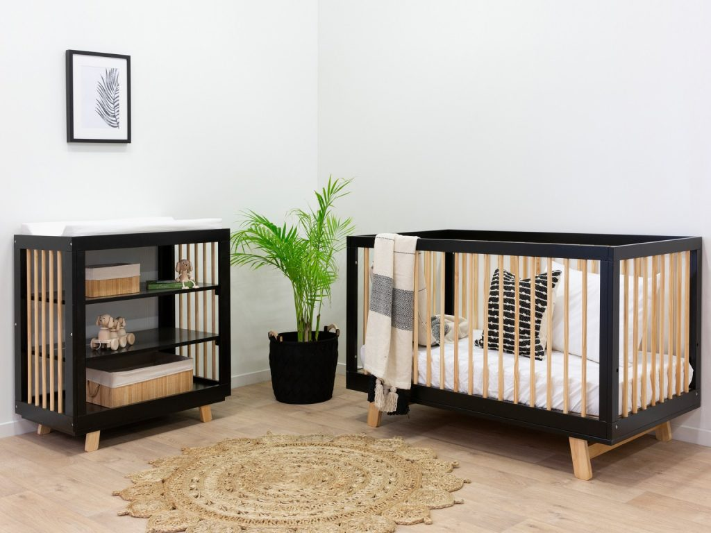 Black and timber nursery cot package