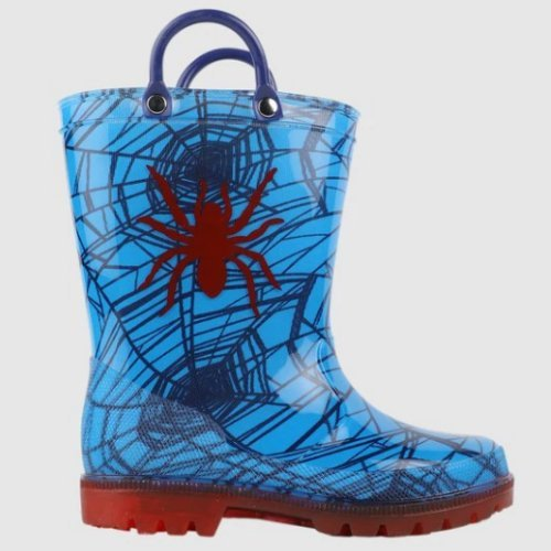 spiderman kids light up boys gumboots with handles