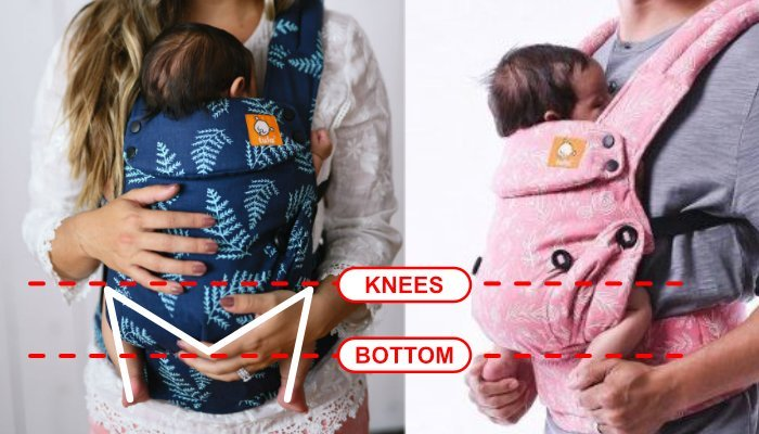 Baby Tula baby carrier demonstrating newborn in M sitting position to prevent hip dysplasia